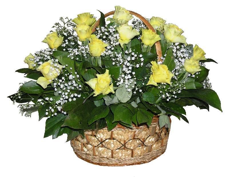 Корзина с желтыми цветами